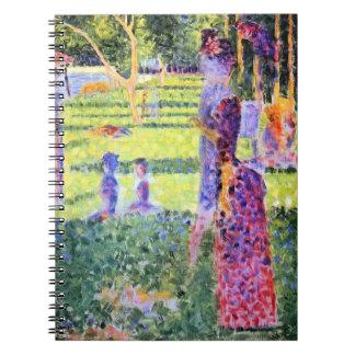 Die Paare durch Georges Seurat, Vintager Notizblock