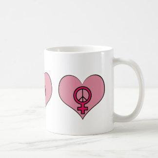 Die Recht-Protest-Herz-feministische Kaffeetasse
