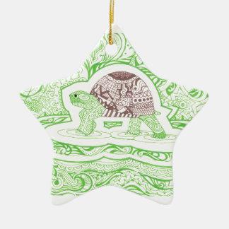 Die reisende Schildkröte Keramik Stern-Ornament