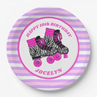Die Rollen-Skate-Geburtstags-Party des Mädchens Pappteller