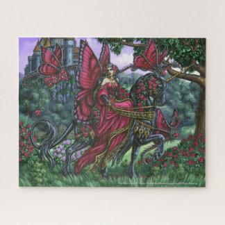 Die Rosen-Königinunicorn-Fee Puzzel Puzzle