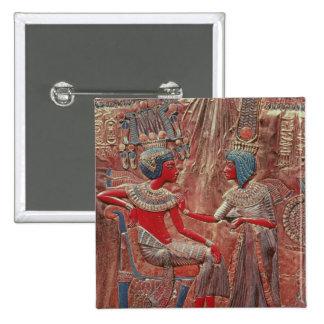 Die Rückseite des Thrones von Tutankhamun Quadratischer Button 5,1 Cm