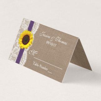 Die rustikale Sonnenblume-Hochzeits-Sammlung - Platzkarte