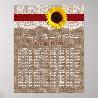 Die rustikale Sonnenblume-Hochzeits-Sammlung - Rot Poster