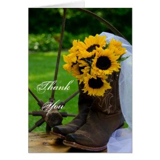 Die rustikalen Wedding Sonnenblume-Cowboystiefel Karte