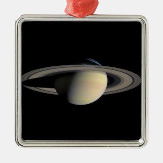 Die Saturn-Planet NASA Quadratisches Silberfarbenes Ornament