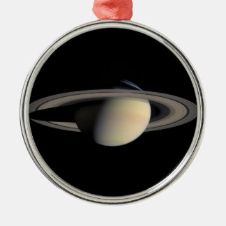 Die Saturn-Planet NASA Rundes Silberfarbenes Ornament