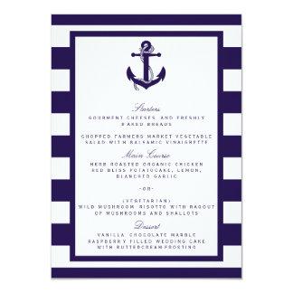 Die Seeanker-Marine-Streifen-Hochzeits-Sammlung 11,4 X 15,9 Cm Einladungskarte