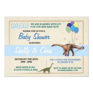 Die seine Paar-Dinosaurier-Babyparty ein 12,7 X 17,8 Cm Einladungskarte