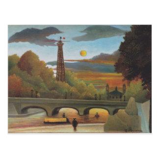 Die Seine und Eiffelturm im Sonnenuntergang durch Postkarte