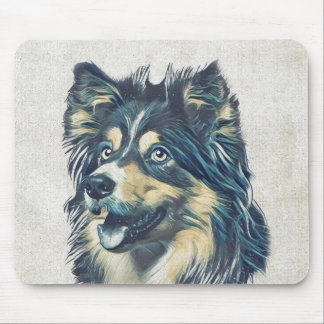 Die Shetlandinseln-Schäferhund, der Mousepad malt