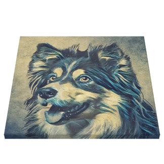 Die Shetlandinseln-Schäferhund-Malerei Galerie Faltleinwand