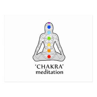 Die sieben chakras mit ihren jeweiligen Farben Postkarte