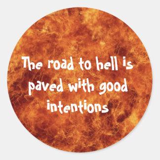 Die Straße zu den Höllen-Aufklebern Runder Aufkleber