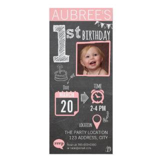 Die Tafel-1. Geburtstags-Einladung des Mädchens 10,2 X 23,5 Cm Einladungskarte