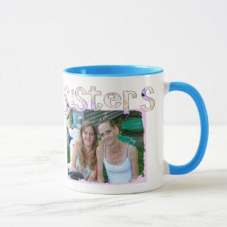 Die Tasse der Schwester mit Foto und Zitat im rosa