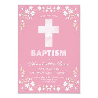 Die Taufe-Einladung des Mädchens - Rosa, 8,9 X 12,7 Cm Einladungskarte