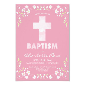 Die Taufe-Einladung des Mädchens - Rosa, Karte