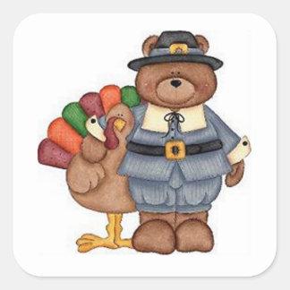 Die Teddybär-Pilger und Türkei Quadrat-Aufkleber