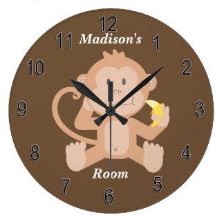 Die Uhr-niedlicher Baby-Affe der Kinder Große Wanduhr