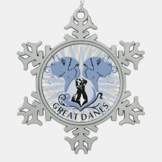 Die umrandete Deutsche Dogge Schneeflocken Zinn-Ornament