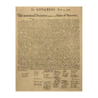 Die Unabhängigkeitserklärung Dokument Holzleinwand