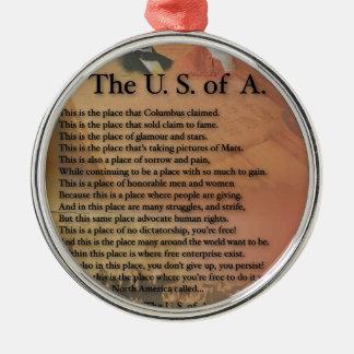 Die USA Präsidenten Poetry Art Gifts Silbernes Ornament