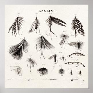 Die Vintagen 1800s, die Fliegen-Fischen angeln, Poster