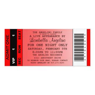 Die vip-Karten-Geburtstags-Einladung (rot) 10,2 X 23,5 Cm Einladungskarte