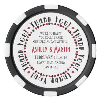 Die Wedding Vegas-Kasino-Karten-Anzüge danken Poker Chips