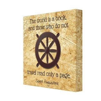 Die Welt ist ein Buch * St- Augustinezitat Leinwanddruck