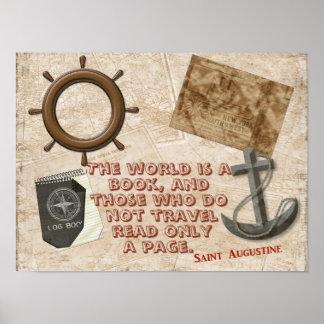Die Welt ist ein Buch - zitieren Sie St- Poster