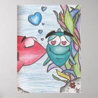 Die zeichnende Liebe eines Kindes das fischartige Poster