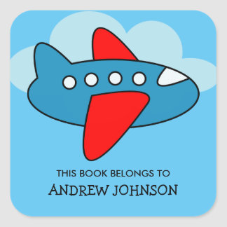 Dieses Buch gehört Flugzeug-Buchzeichenaufklebern Quadratischer Aufkleber