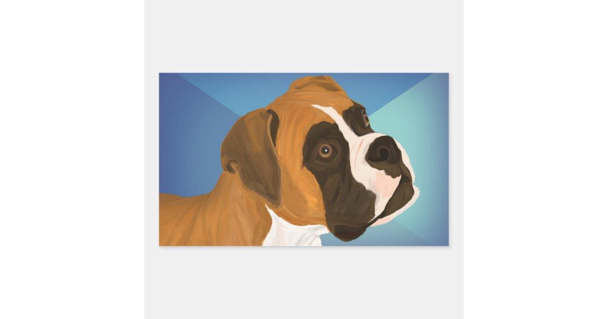 digital gemalter brown boxer hund auf blauem rechteckiger aufkleber. Black Bedroom Furniture Sets. Home Design Ideas