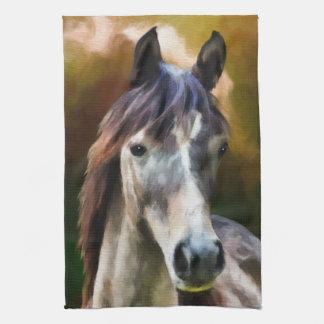 Digital-Pferdeporträt-Malereiname Küchenhandtuch