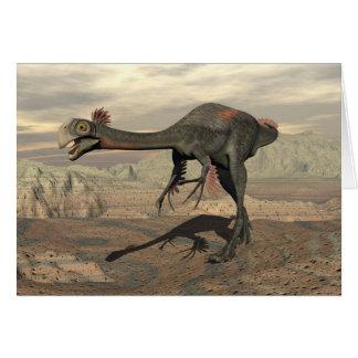 dinosaur_gigantoraptor_walking_landscape_standard. grußkarte
