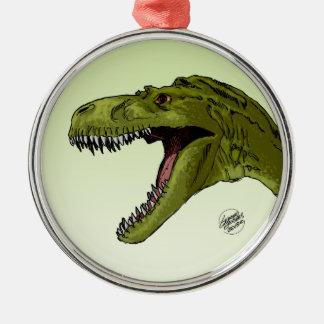 Dinosaurier BrüllensT-Rex durch Geraldo Borges Rundes Silberfarbenes Ornament