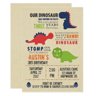 Dinosaurier-Geburtstags-Einladungen 12,7 X 17,8 Cm Einladungskarte