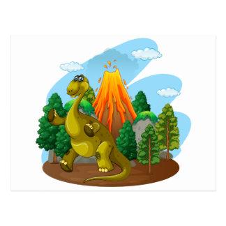 Dinosaurier- und Vulkaneruption Postkarte