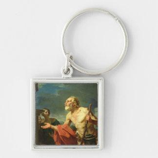 Diogenes, der für Almosen, 1767 fragt Silberfarbener Quadratischer Schlüsselanhänger
