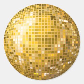 Disco-Ball-Goldaufkleber Runder Aufkleber