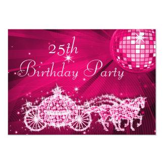 Disco-Ball, Prinzessin Coach u. Pferde25. 12,7 X 17,8 Cm Einladungskarte