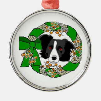 Ditzy Dogs~Original Ornament~Border Collie Rundes Silberfarbenes Ornament
