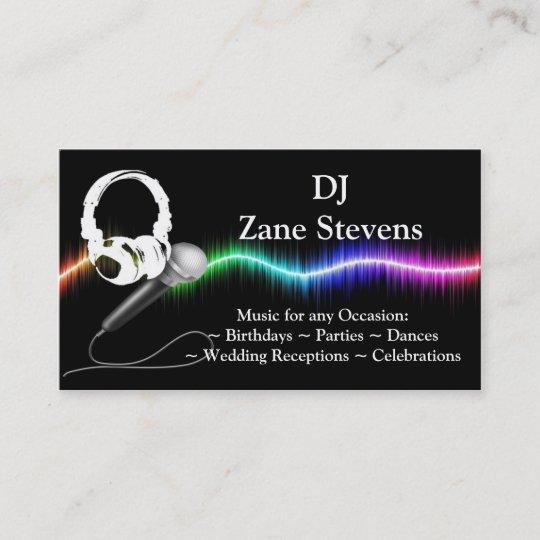 Dj Mikrofon Kopfhörer Visitenkarte Schablone Visitenkarte