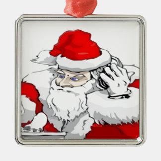 DJ Weihnachtsmann, der die WeihnachtsParty-Bahn Quadratisches Silberfarbenes Ornament