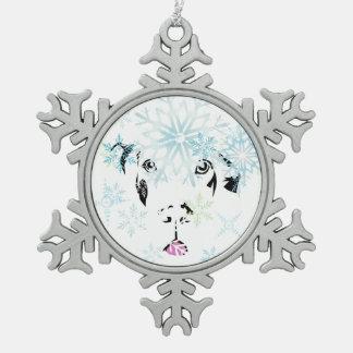 Doggen Weihnachtsstern Schneeflocken Zinn-Ornament