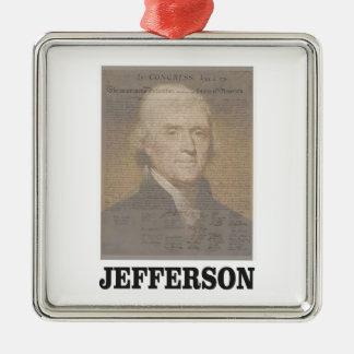 dokumentiertes Jefferson Quadratisches Silberfarbenes Ornament