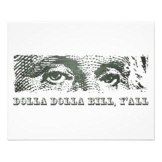 Dolla Dolla Bill Yall George Washington Dollar 11,4 X 14,2 Cm Flyer