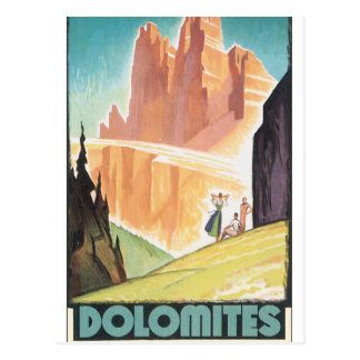 Dolomit-Vintages Reise-Plakat Postkarte